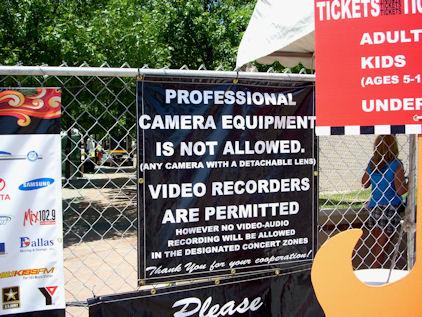No Professional Cameras
